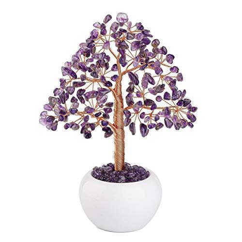 JSDDE - Árbol de la vida en piedra para decoración, colección preciosa, árbol de la vida, piedra natural, base de cuenco de cerámica, amatista