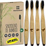 Cepillo De Dientes Bambú Anti Moho Cerdas Indestructibles Carbón Activado 100% Madera Natural Biodegradable Ecológico Reciclable