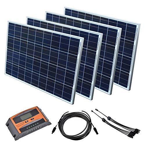 Solar Set 12 V Solaranlage Solarkit PV Inselanlage Wohnmobil Solarmodul Laderegler, Wattzahl:400 W