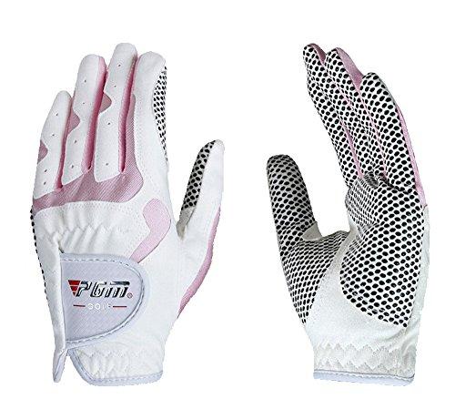 PGM Damen Golf Handschuh One Paar, verbesserte Grip System, Kühl und bequem, weiß/pink