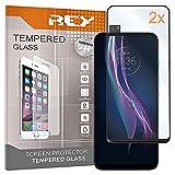 REY 2X Protector de Pantalla 3D para Motorola One Fusion Plus, Negro, Protección Completa, 3D / 4D / 5D