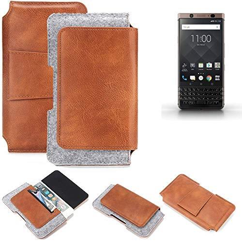 K-S-Trade Schutz Hülle Für BlackBerry KEYone Bronze Edition Gürteltasche Holster Gürtel Tasche Schutzhülle Handy Smartphone Tasche Handyhülle PU + Filz, Braun (1x)