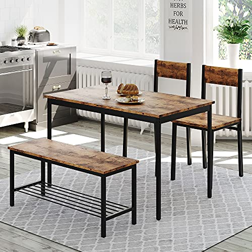 Kitchen Dining Table and Chairs Set of 2 with 1 Bench, Garden Bench Home Furniture Set Dining Room Furniture, Solid Wooden & Sturdy Metal Frame Industrial, Rustic Brown