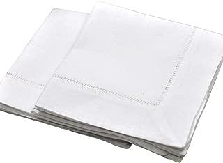 White Linen Hemstitched Tea Napkins Set of 6 12