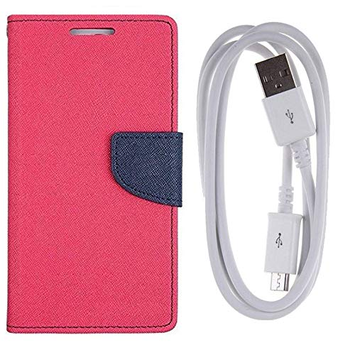 Avzax® Diary Style Textured Flip Cover Case [with Card/Cash Holder] for Apple iPhone 5s (Pink) + Micro USB Data Transfer/Charging Cable