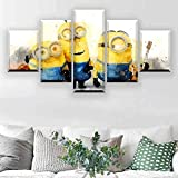 5 piezas cuadro en lienzo Cuadro compuesto por 5 lienzos impresos en HD, utilizados para decoración del hogar y carteles Minions de dibujos animados (150x80cm sin marco)
