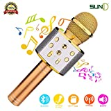 SUNY Wireless Bluetooth Karaoke Microphone, Portable Handheld Speaker Machine Music Player w/Record Function for Android & iOS Devices(Gold)