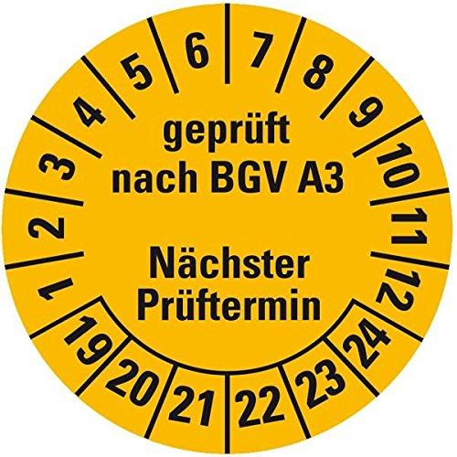 LEMAX® Prüfplakette geprüft BGV A3 Nä.Prüftermin 19-24,gelb,Dokufolie,Ø 30mm,18/Bogen