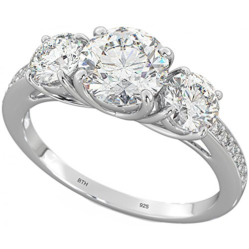 Ladies 925 sterling silver three stones wedding engagement band ring