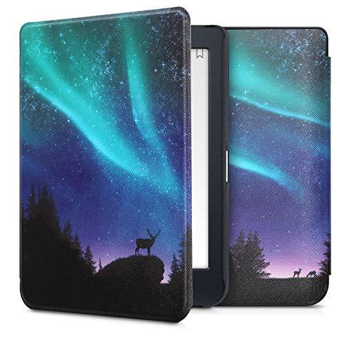 kwmobile hoes compatibel met Kobo Nia – Case voor e-reader in turquoise/blauw/zwart – Noorderlicht Hert