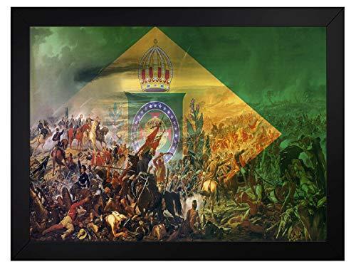 quadro bandeira monarquia do brasil guerra do paraguai tamanho 45x35cm com vidro