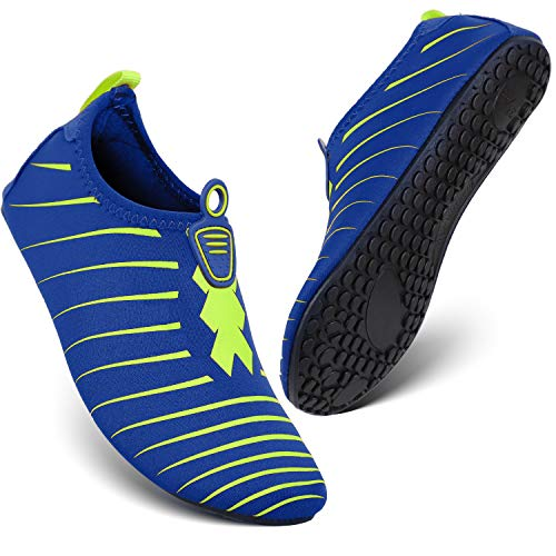 HEETA Water Sports Shoes for Women Men Quick Dry Aqua Socks Swim Barefoot Shoes for Beach Pool Surf Swim Yoga Blue & Green XXXL