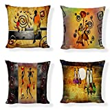 Set of 4,Orange African Ethnic,African Tribal Women,African Giraffe and African Monk Decorative Cushion Cover Pillowcase for Sofa,Couch,One-Side Printed,Cotton Linen,18x18 Inch(45x45cm)