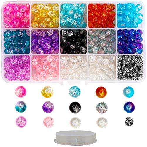 Fun-Weevz 350 PCS Crackle Glass Beads for Jewelry Making Adults, 8mm Glass Bead Kit w/ 50 Casted Silver Spacers & 10y Stretch Cord, Transparent Handcrafted Lampwork Glass Round Beads Assortment