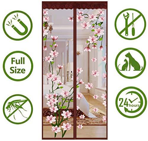 Hordeur, uit muggenhor, zonder boren, automatisch afdichten, voor terras, tuin, slaapkamer Deuren enz, Houdt insecten of huisdieren buiten uw kamer, bruin
