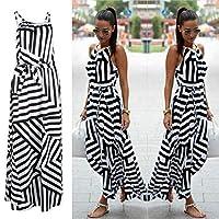 CXZA 夏のマキシロングドレス新しいファッションの女性のセクシーな自由奔放に生きるストライプノースリーブビーチスタイルストラップサンドレスVestidosのために女性Bigsweety (サイズ : XL)
