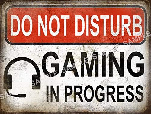 Do Not Disturb Gaming In Progress - Funny - Rétro - Vintage - Plaque en métal - 3 tailles au choix - Décoration d'intérieur - Joli cadeau (40,6 x 30,5 cm)