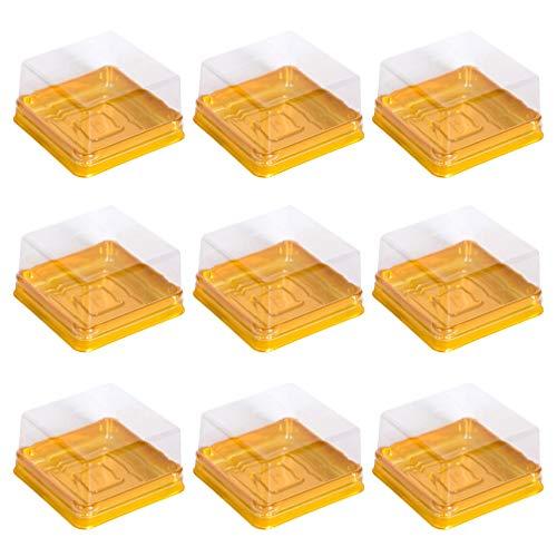 Bestonzon 50 Stück Kunststoff quadratische Mondkuchen Schachteln EierEigelb Puff Container Golden Verpackung Box Mini Kuchen Aufbewahrungsbox (groß)