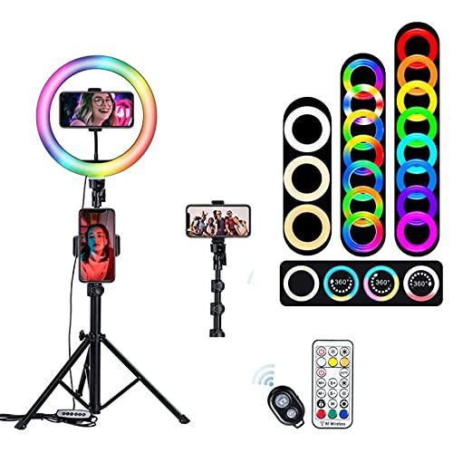 XCUGK Anillo de luz RGB Ring Light con Soporte de Trípode y Soporte 3 Modos de Iluminación 33 Brillo Ajustable para Selfie Transmisión en Vivo Maquillaje Vlog Webcam