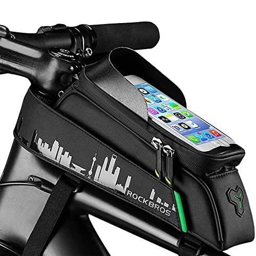 Bolsa Para Cuadro De Bicicleta Con Pantalla Táctil, Impermeable Soporte Para Teléfono De Bicicleta Con Conector Para Auriculares Bolsa Bicicleta Tubo Frontal Para Smartphone Por Hasta 6 Pulgadas