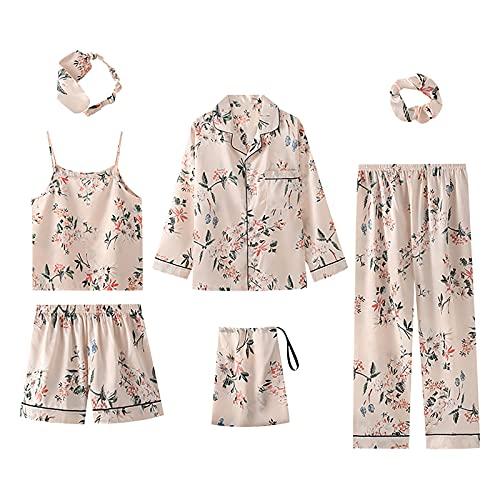 7 Pieces Women's Pajamas Sets Silk Satin Pyjama Cami Shorts Set Sleepwear Button Down Long Sleeve Shirt Loungewear Set Beige