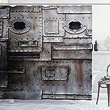 Ambesonne Industrie-Duschvorhang, rost-stilisiertes Eisen, Bullauge, verkratzter Stahl-Fabrikeingang, Retro-Bild mit Haken, 198 cm lang, Taupe Dark Taupe