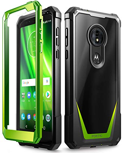 Moto G6 Play Case, Moto G6 Forge Case, Poetic Guardian [Scratch Resistant Back] Full-Body Rugged Clear Hybrid Bumper Case with Built-in-Screen Protector for Moto G6 Play/Moto G6 Forge Green