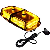 CZC AUTO LED Amber Emergency Warning Strobe Light Bar, 36PCS High Intensity 12V LED Yellow Mini Hazard Flashing Lamp with Rooftop Magnetic Base for Truck Boat Recovery Vehicles in Snow Fog Rain