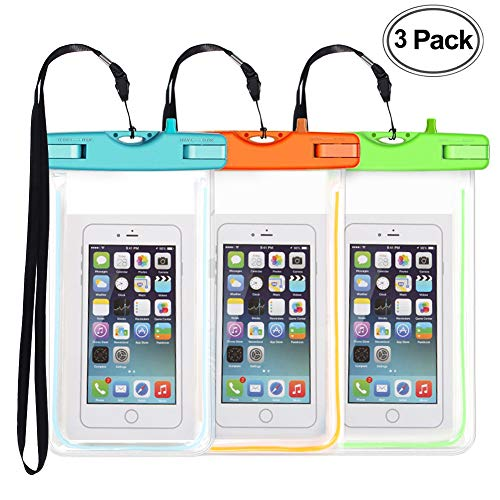 3 Pack Waterproof Phone Case, Universal Phone Bag Pouch Dry Bag for Phone iPhone X 8 7 6 Plus Samsung Galaxy s9 S8 S7 up to 6.0', Swimming, Diving