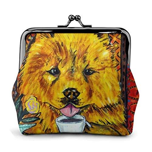 Chow Dog Lindo Té de la Tarde Temático Vintage Bolsa Chica Kiss-Lock Cambio Monedero Monederos Hebilla Monederos de Cuero Llavero Mujer Impreso Novedad Mini