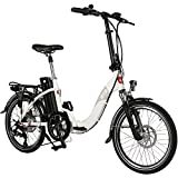AsVIVA vélo intermodal électrique B13 avec batterie Samsung 36V 15,6Ah | Vélo pliant 20' avec dérailleur Shimano 7 vitesses, moteur arrière Bafang, frein à disque, Vélo électrique blanc