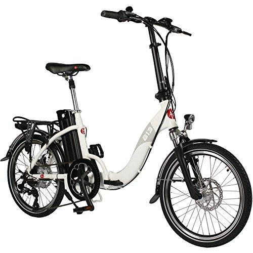 AsVIVA E-bike B13 bici ripiegabile elettrica con batteria Samsung 36V 15,6Ah | Bici pieghevole 20' con deragliatore Shimano a 7 marce, motore posteriore Bafang, freni a disco | Bicicletta bianco