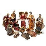 Krippenfiguren Set XL Weihnachten mit 11 großen Figuren (bis 21 cm) im klassischen Design für Krippen Dekoration