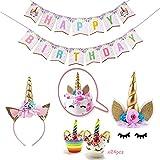Einhorn-Geburtstagsfeier-Versorgung,Einhorn Horn Cake Topper,Cupcake Topper und Alles Gute zum...