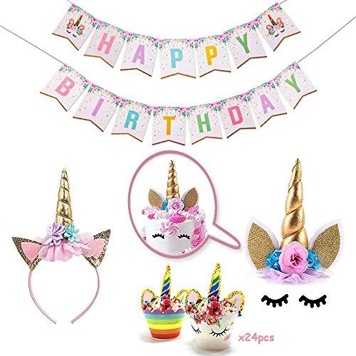 Einhorn-Geburtstagsfeier-Versorgung,Einhorn Horn Cake Topper,Cupcake Topper und alles Gute zum Geburtstag Banner, Einhorn-Party-Dekorationen für Babyparty oder Kinder