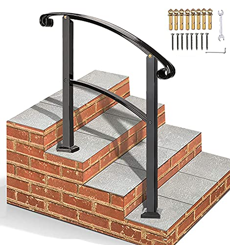 Flyskip Handrails for Outdoor Steps | Height Adjustable 3 Step Handrail Kit Fits 1 or 3 Steps | Wrought Iron Handrail Stair Rail for Indoor Steps with Installation Kit,Black