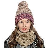Bufanda de invierno tipo cuello suave y cálida para mujer con diseño de punto - Marrón claro