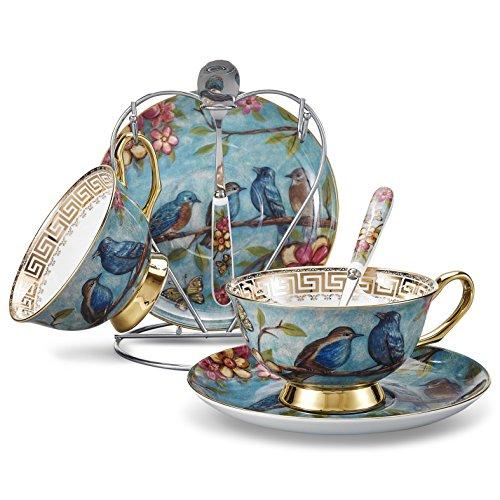 Panbado Kaffeeservice Set Porzellan, Premium Bone China Porzellan Teetassen mit Untertassen, Löffel und Metall Ständer