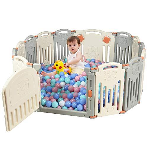 COSTWAY Baby Laufgitter faltbar, Absperrgitter aus Kunststoff, Krabbelgitter mit Tür und Spielzeugboard, Spielzaun für Kinder, Baby Schutzgitter (Beige, 14 Stk.)