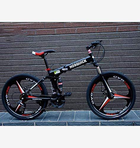 QZ Faltbare Adult Mountainbike, Jugendkursteilnehmer, Doppelscheibenbremse Bikes, City Road Rennrad, Magnesium-Legierung integrierte 24-Zoll-Räder (Color : Black, Size : 30 Speed)