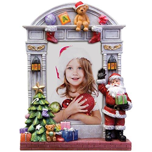 FINE PHOTO GIFTS Bilderrahmen mit Weihnachtsmann und Weihnachtsbaum, Kunstharz, beleuchtet, 10,2 x 15,2 cm