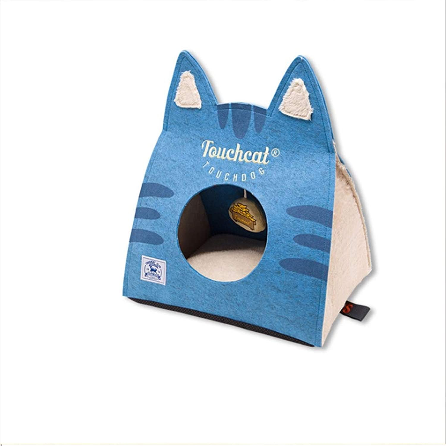 Cat Ear Wool Felt Bag Fabric Portable Collapsible Cat Pet Bed House Black Khaki Yellow bluee with Toy(S,L),bluee,40  30  40cm