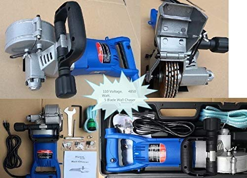 Buy Bargain Wall Groove Cutting Machine 110V 110 Voltage Wall Chaser 10 Crack Chaser Tuck Point Blade Stone concrete cement cutter 4850 Watt Slotting Machine 3 Extra Pairs of Carbon Brush attached