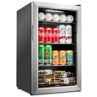 Ivation 101 Can Beverage Refrigerator   Freestanding Ultra Cool Mini Drink Fridge   Beer, Cocktails, Soda, Juice Cooler for Home & Office   Reversible Glass Door & Adjustable Shelving, Stainless Steel