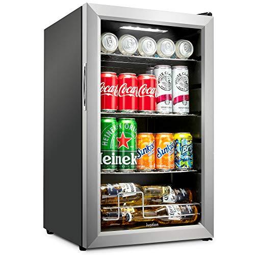 Ivation 101 Can Beverage Refrigerator  Freestanding Ultra Cool Mini Drink Fridge  Beer Cocktails Soda Juice Cooler for Home Office  Reversible Glass Door Adjustable Shelving Stainless Steel