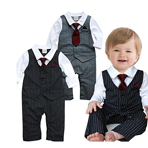EGELEXY Baby Boy Formal Party Wedding Tuxedo Waistcoat Outfit Suit 18-24months Black