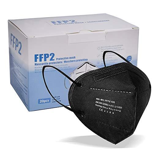 blackpoolal FFP2 CE 2163, Mascarilla de Protección Respiratoria - Protectora Respirador Antipolvo Homologada 5 capas. Alta Eficiencia Filtración BFE de 95% (Negro 20 pcs)