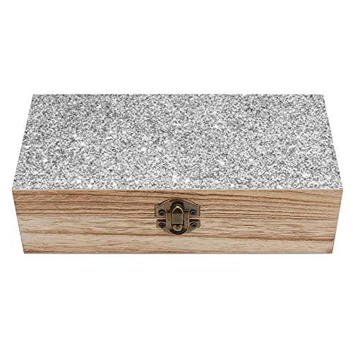 Elegante caja de madera con purpurina plateada decorativa para el tesoro, mini caja de almacenamiento y almacenamiento para el hogar, caja de regalo, caja de té de almacenamiento de 19 x 9,7 x 5,9 cm