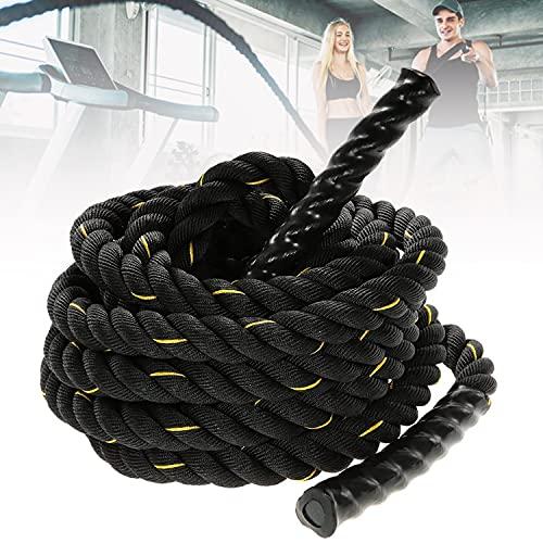 HIMABeauty Cuerda De Saltar Pesada, Cuerda De Batalla Diámetro 25mm con Puños Plásticos Antideslizantes para Entrenamiento De Fuerza, Entrenamiento Muscular, Mejora La Fuerza, 9m/12m/15m,25mm*9m