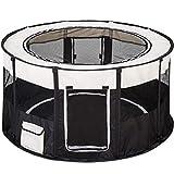 TecTake Parc à chiots chien chaton chat enclos pour chiens 114 x 60,5 cm (Ø x H) - diverses couleurs au choix - (Noir | no. 402438)